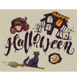 Happy Halloween Set of accessories for greeting vector image vector image