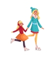 Happy mother and daughter ice skating together vector image vector image