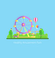 healthy amusement park poster vector image vector image