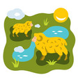 herd of sheep on a meadow flat style vector image vector image