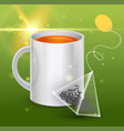 image of a tea bag with the cup vector image vector image