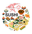 isometric japanese food round concept vector image