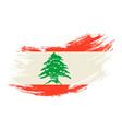 lebanese flag grunge brush background vector image vector image