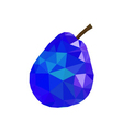 Low poly pear icon Blue vector image vector image