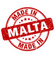 made in malta red grunge round stamp vector image vector image