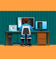 man working in front of his computer vector image