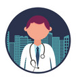 medical doctor with cityscape vector image vector image