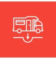 Motorhome and sump line icon vector image vector image