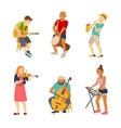 Musician cartoon characters isolated on white vector image vector image