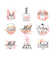 nail studio logo design set creative templates vector image