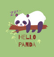 panda bear sleeping on tree branch banner vector image vector image