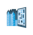 paper map guide with cityscape vector image