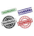 scratched textured shawarma stamp seals vector image