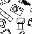 seamless background of digital cameras tripod film vector image vector image
