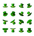 set of green hat with a gold ribbon cylinder vector image