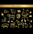 set of isolated vintage sketches of farm animals vector image vector image
