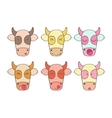Set smileys cow vector image vector image