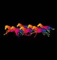 seven horses running cartoon graphic vector image vector image