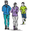 sketch of runners passing each other vector image vector image