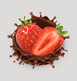 strawberry and chocolate splash realistic 3d icon vector image vector image