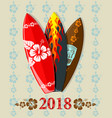 surf boards with 2018 text vector image vector image