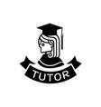 tutor logo with graduated school girl vector image vector image