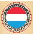 Vintage label cards of Luxemburg flag vector image