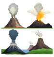 volcano eruption on white vector image vector image
