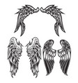 wings bird feather black white tattoo set 6 vector image vector image