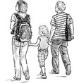young parents with their daughter vector image vector image