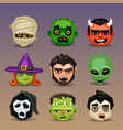 funny halloween icons-set 5 vector image