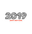 2019 lettering happy new year greeting or vector image