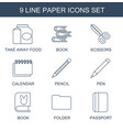 9 paper icons vector image vector image