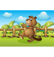 A beaver running inside a fence vector image vector image
