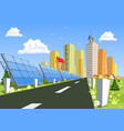 abstract city and solar power technology vector image vector image