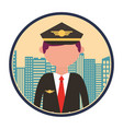 airplane pilot with cityscape vector image vector image