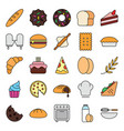 bakery color baker cake icons set collection with vector image