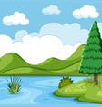 beautiful lake landscape scene vector image