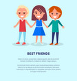best friends boys girls poster of active kids vector image