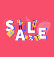 Big sale poster with customers and shopping bags