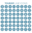 big travel tourism linear trendy icon set vector image