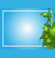 border template with green leaves on side vector image vector image