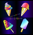 bright rainbow collection of ice cream neon meal vector image