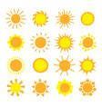 cartoon sun collection yellow sun icons set vector image vector image