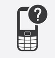 cell phone icon with question mark vector image vector image