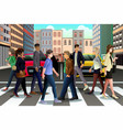 city people crossing street during rush hour vector image