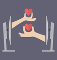 Couple hands holding hearts from two computers vector image vector image