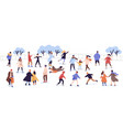 crowd active cartoon people ice skating on rink vector image vector image
