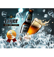 design of advertising beer with bottle and glass vector image vector image