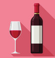 flat wine claret glass bottle design style drawing vector image